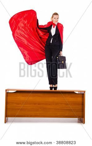 Superwoman standing on the desk