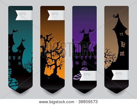 Vertical banner concept for Halloween in editable vector format