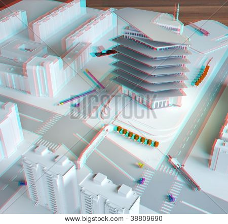 stereo  architectural model of a modern building (need anaglyph red-cyan glasses)