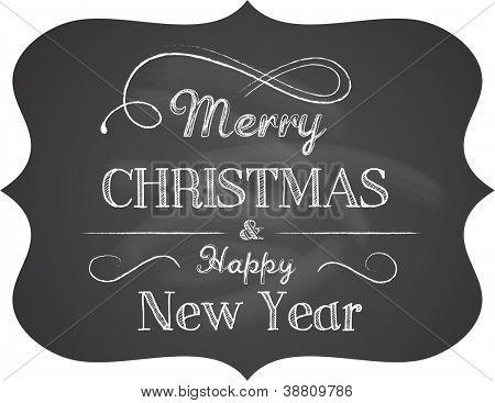 Plano de fundo de Natal de quadro-negro com texto elegante