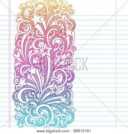 back to school sketchy notebook doodles page edge border design shooting stars and swirls hand