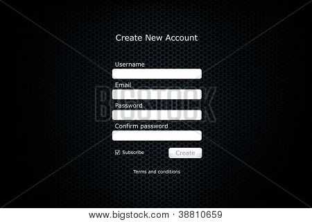 Registration form page with metal cell background.