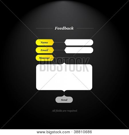 Feedback form with trendy fields and buttons shapes and simply classical type.