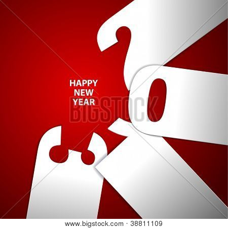 red and white Happy New Year 2013 vector card