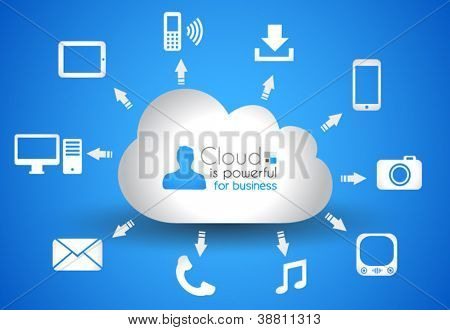 Cloud Computing concept background with a lot of icons: tablet, smartphone, computer, desktop, monitor, music, downloads and so on