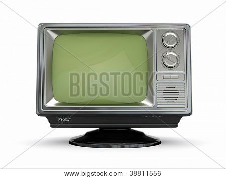 Vintage retro tv on white background. 3d
