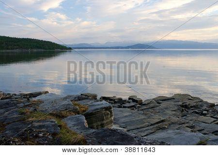 Summer sunset over fjord, Finnmark, Norway