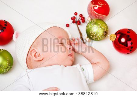 Sweet newborn Christmas baby sleeping