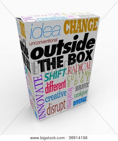 The words Outside the Box on a product package to symbolize a new idea, innovative creation or an unconventional, unique solution to a problem