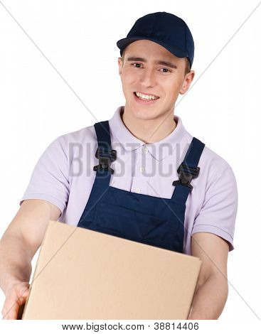 Workman in overalls and blue peaked cap keeps a parcel, isolated on white. Transportation service