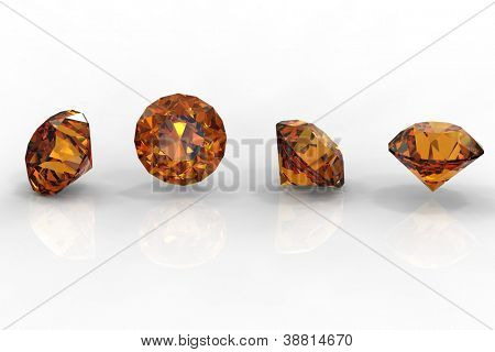 Citrine. Collections of jewelry gems on white