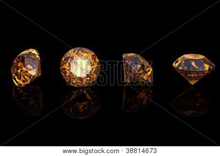 Citrine. Collections of jewelry gems on black