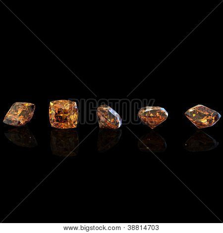 Square. Citrine. Collections of jewelry gems on black