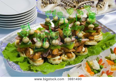 Catering Buffet Style - Sandwiches With Sausages On Lettuce