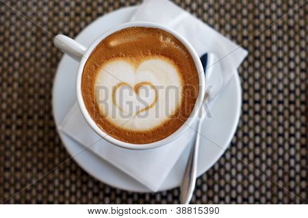 Cup Of Cappuccino With Heart