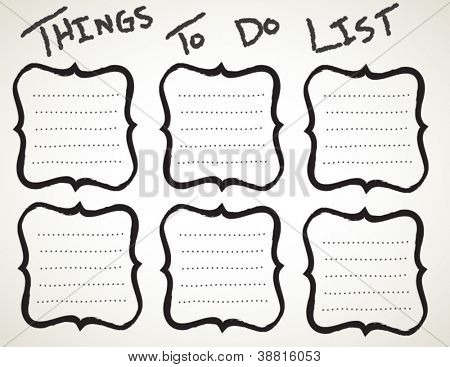 Vector Things to do list with lines for text, hand drawn