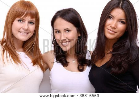 Three happy friends, beautiful girls