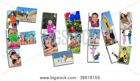 Young children playing laughing and having fun in summer and winter. Running, swimming, cycling, jumping and being active, the montage spells the word FUN