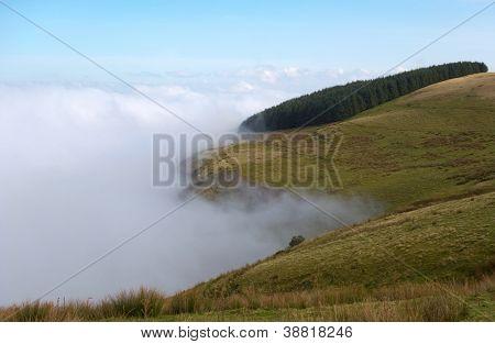 Welsh hills morning mist, Mynydd Epynt, Powys UK.