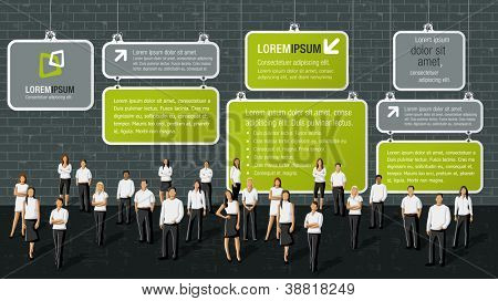 Green template for advertising brochure with business people in front of brick wall