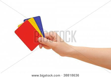 woman hand with credit cards isolated on white