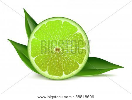 Juicy fresh half of lime with leaves