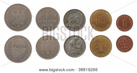 Old Deutsche mark coins isolated on white