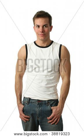 Young muscular man wearing a white sleeveless shirt isolated on white