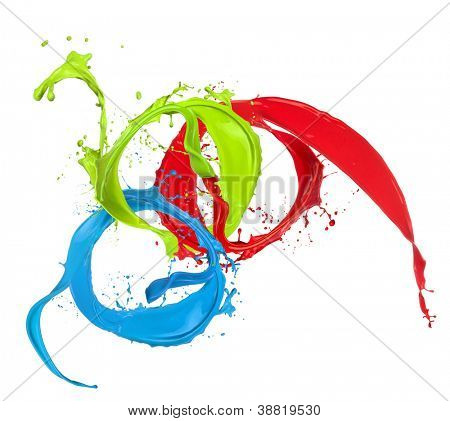 Colored paint splashes rings isolated on white background