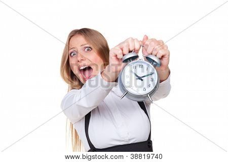 woman holding alarm clock in panic. isolated on white background