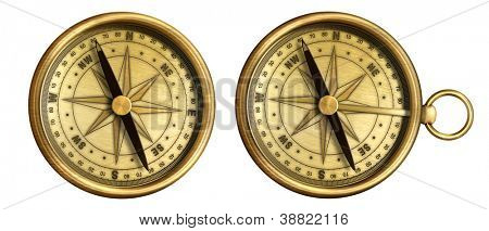 aged brass antique nautical pocket compass set isolated on white background