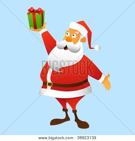 Santa Claus Besitz ein Geschenk am Arm, in