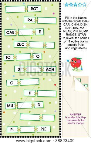 Fruits and vegetables word puzzle
