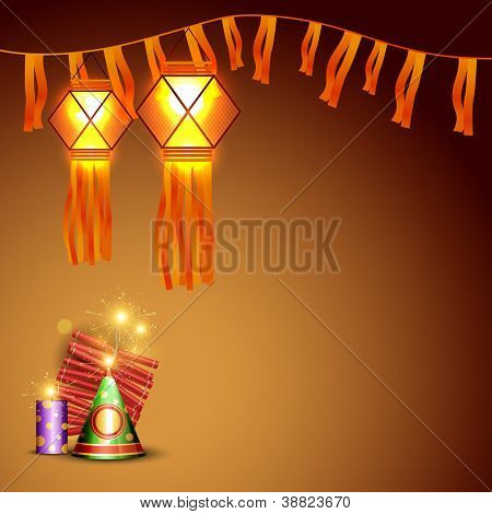 vector diwali crackers background with space for your text