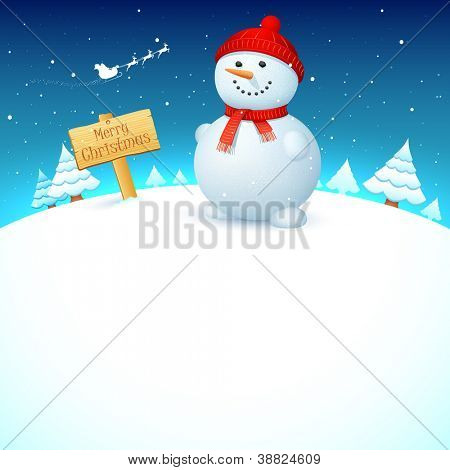illustration of snowman on snowy landscape in christmas night