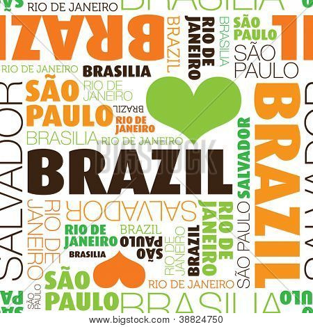 I love Sao Paulo Brazil seamless typography background pattern in vector