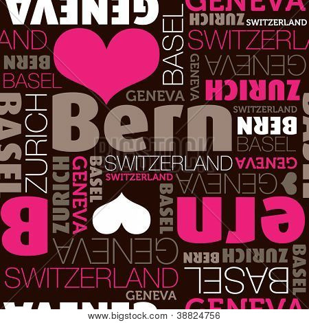 I love Bern Switzerland seamless typography background pattern in vector
