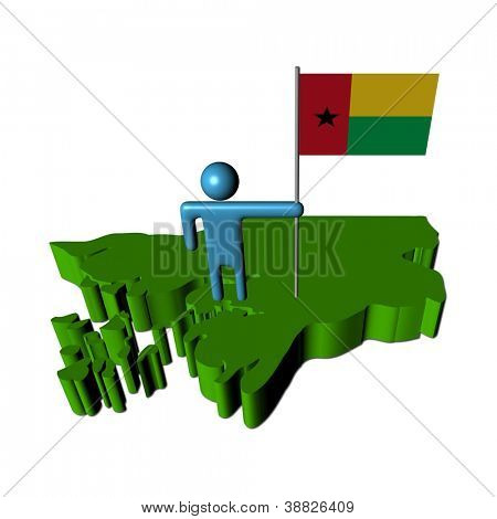 Abstract person with flag on Guinea Bissau map illustration