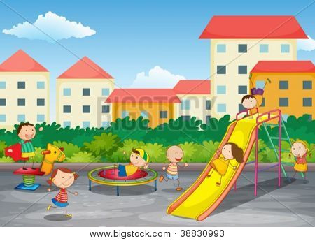 illustration of kids playing outdoor in park