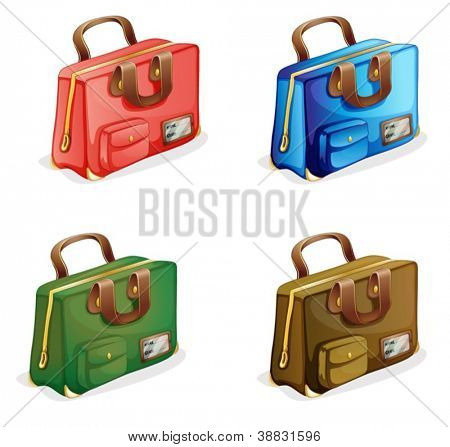 illustration of suitcases on a white background