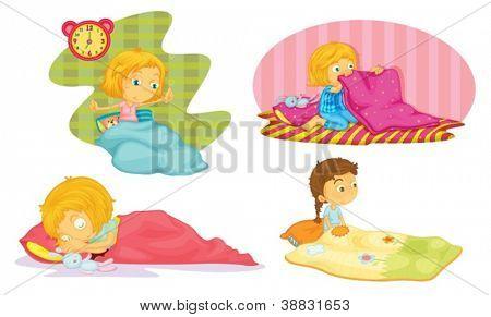 illustration of girls on a white background