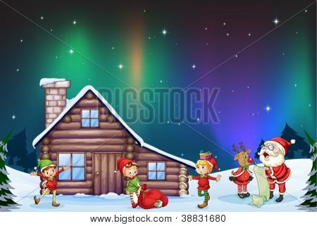 illustration of santa clause, kids and reindeer in nature