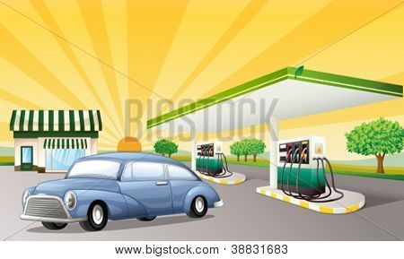 illustration of a house and gas station in a beautiful nature
