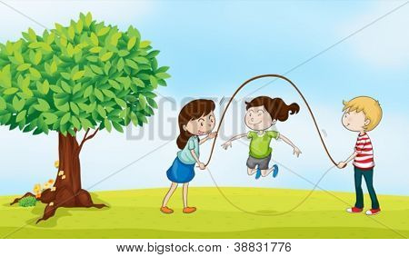 illustration of kids and a tree in a beautiful nature