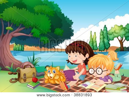 illustration of girls and a cat in a beautiful nature