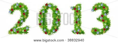 High resolution conceptual Christmas or New Year 2013 made of green fir tree branches with red,yellow and blue ornaments, with star shape snowflakes, isolated on white, for holiday or religion design