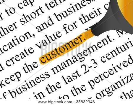 High resolution concept or conceptual abstract black text isolated on white paper background with orange marker as a metaphor for customer,target,marketing,client,service,strategy,business or consumer