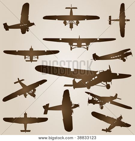 High resolution vintage old set of brown planes drawings on a beige background. It is a group or collection of aircrafts ideal for grungy, travel, flight,transport,retro,antique or business designs