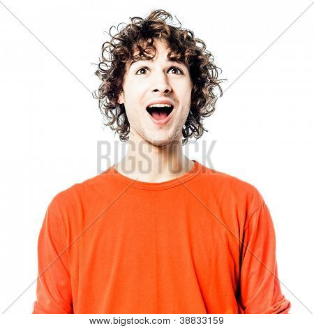 one young man caucasian happy looking up portrait  in studio white background