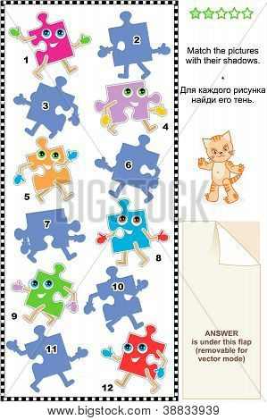 Match to shadow visial puzzle - cheerful cartoon puzzle pieces